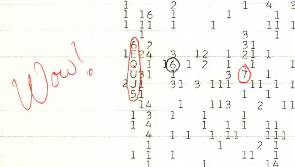 天文学者のJerry Ehman氏が「Wow!」と記したデータのプリントアウト